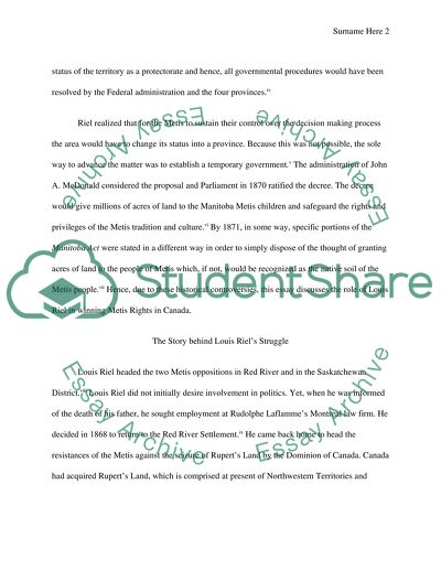 Louis Riel Essay   Many Essays