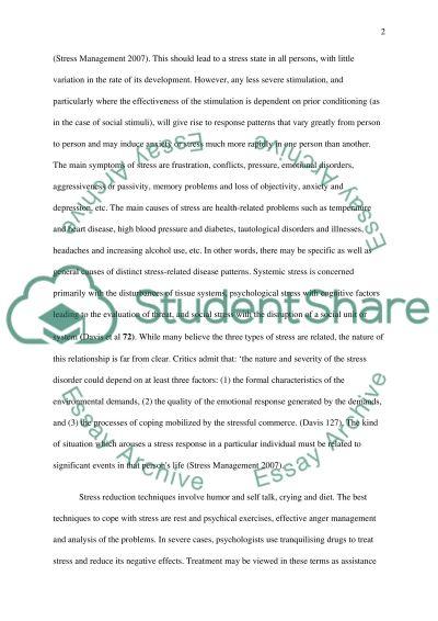 Stress essay example