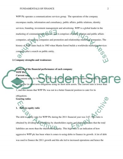 Fundamentals of finance essay example