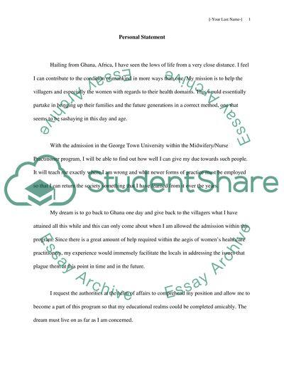 Personal Statement for Graduate school admit