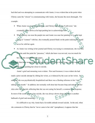 Suicide in the movie What Dreams May Come essay example