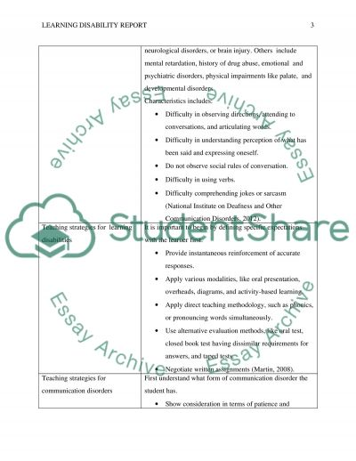 Learning Disability Report essay example