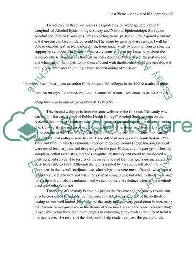 Marijuana Abuse by the U.S University Students: An Annotated Bibliography