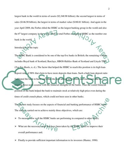HSBC Bank Research Paper Example | Topics and Well Written Essays