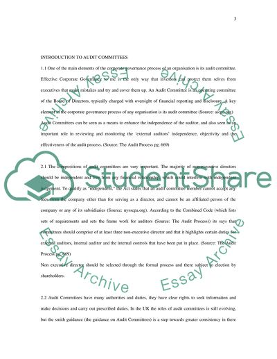 Audit Committees essay example