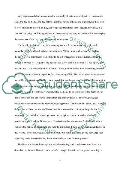 Personl conception of the mening of helth nd heling essay example