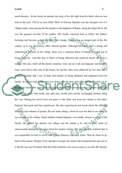 Literature on Slavery essay example