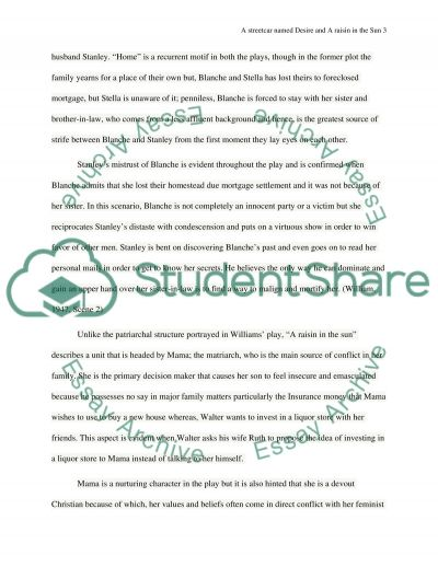 a streetcar d desire and a raisin in the sun essay  raisin in the sun essay example text preview
