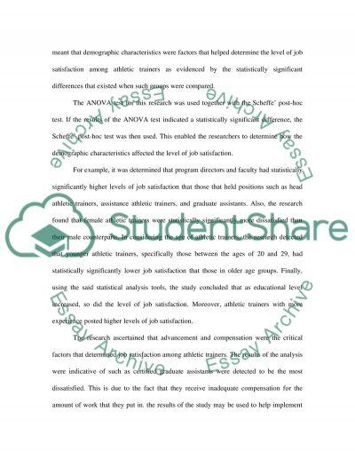 ANOVA essay example
