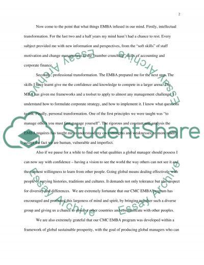 Graduation speech executive MBA essay example