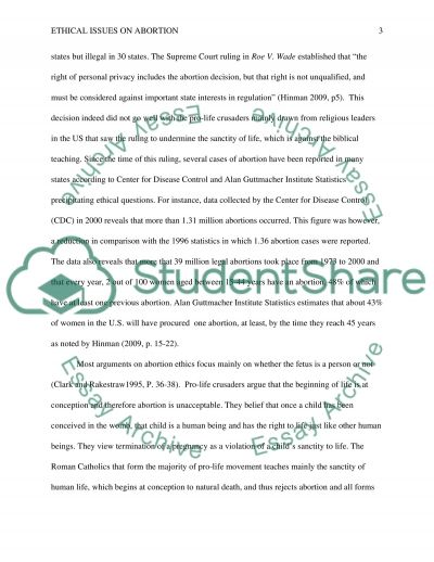 Ethical Issues on Abortion essay example
