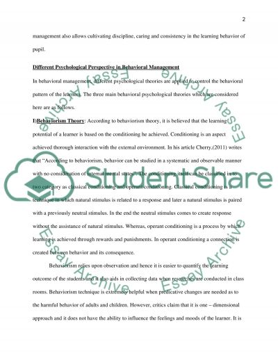 Behaviour Management and Purposeful Learning essay example