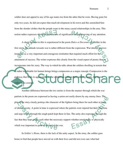 Essays For High School Students To Read Short Story Soldiers Home And The Poem Dulce Et Decorum Est Compare Contrast Essay Examples High School also High School Admission Essay Short Story Soldiers Home And The Poem Dulce Et Decorum Est Essay Topic English Essay