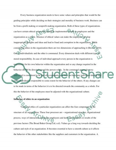 Case Study Analysis of Personal and Organizational Ethics and Values between For-Profit and Not-for-Profit Organizations essay example