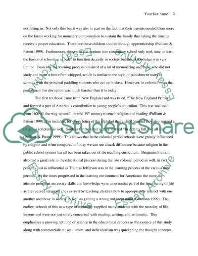 Purpose of Schooling from the Past to the Present Essay example