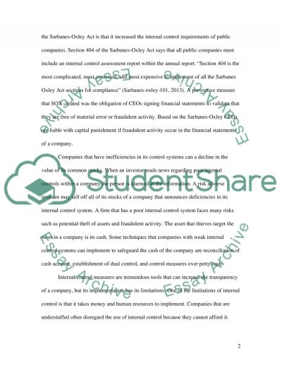 Internal Control essay example