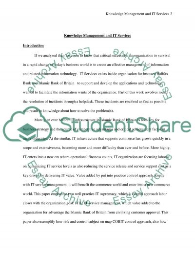 Knowledge Management and IT Services essay example