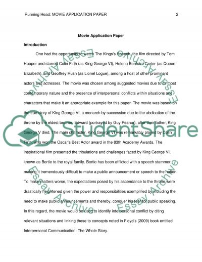 Movie Application Paper - The Kingss Speech