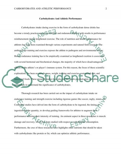 Carbohydrates and athletic performance essay example