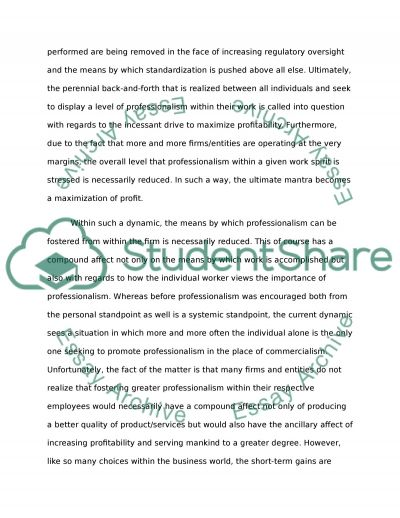 Professionalism vs Commercialism essay example