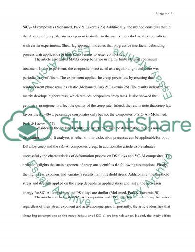 Summary on Creep Behavior of Discontinuous SiC-Al composites essay example