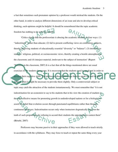 Academic freedom in the classroom essay example