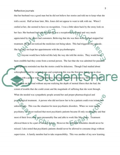 Psychiatric Nursing Reflective journals essay example