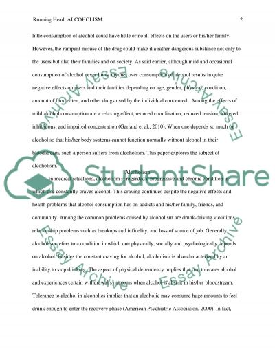 Psychology - Alcoholism Research Paper