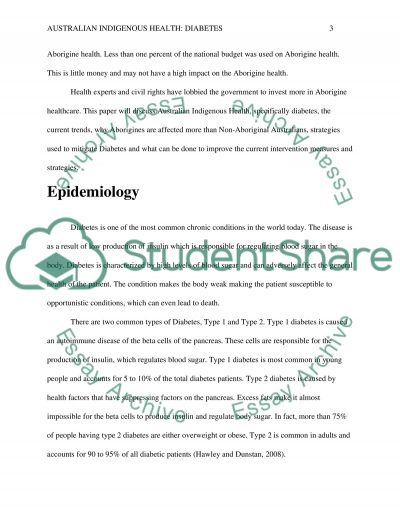 Indigenous Australian and Diabetes essay example