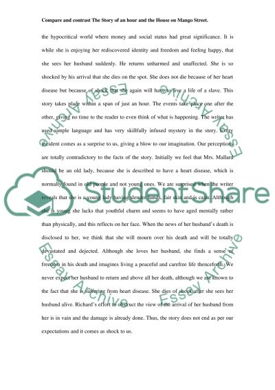 compare and contrast the story of an hour and the house on mango essay  the house on mango street essay example text preview