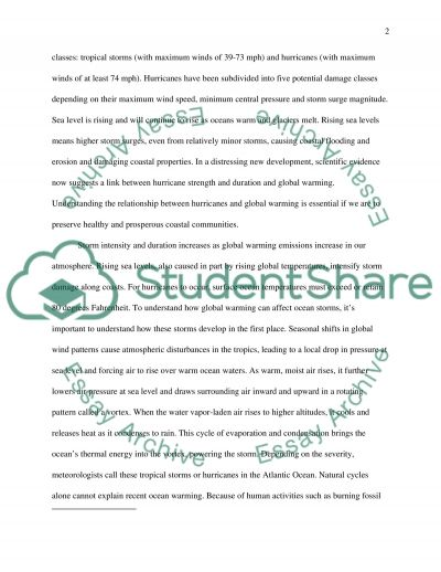 How Global Warming and Hurricane are related essay example