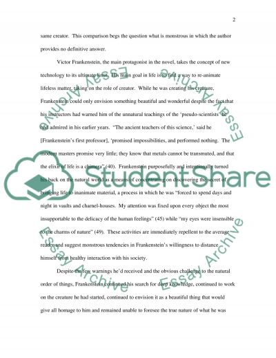 Literary Analysis of Frankenstein by Mary Shelley essay example