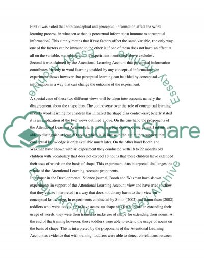 Early Childhood Learning essay example