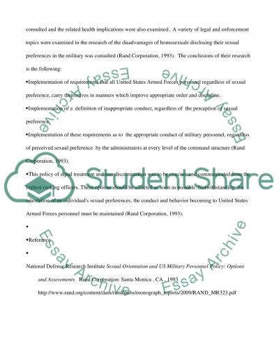 DISADVANTAGE OF HAVING HOMOSEXUALS IDENTIFY THEMSELVES IN THE MILITARY essay example
