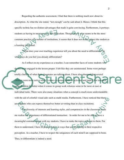 Differentiated Instruction Paper