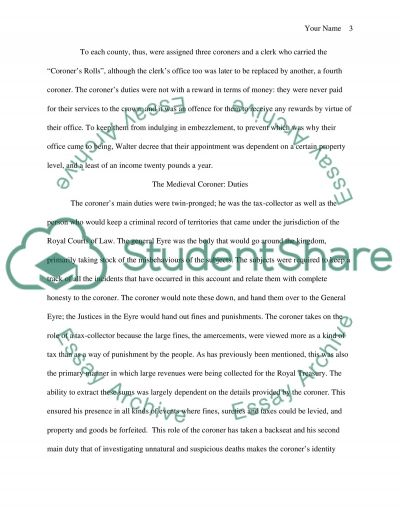 Comparative LawHistory the medieval english coroner system essay example
