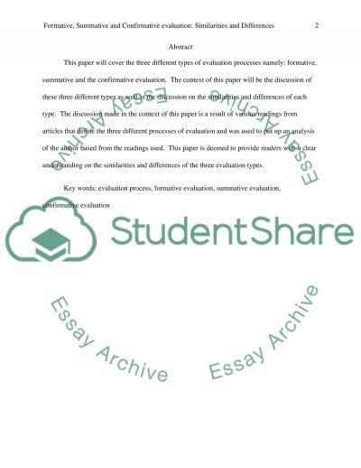 Formative, Summative and Confirmative Evaluation essay example