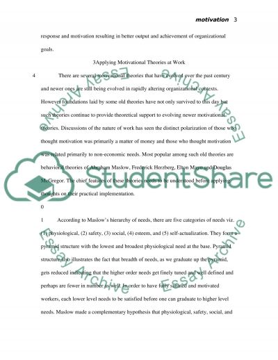 Motivational theories & Organizational Success essay example