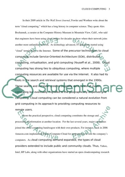 cloud computing essay example topics and well written essays  cloud computing essay example