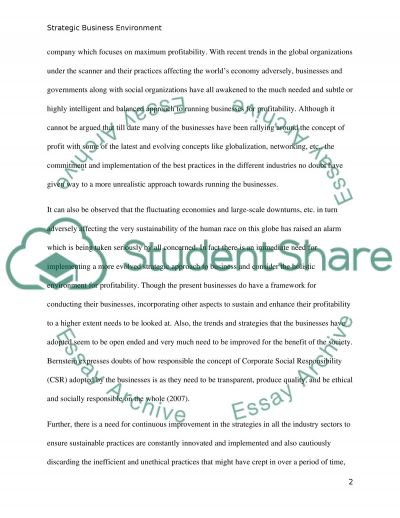Strategic Business Environment essay example