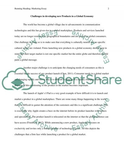 Challenges in developing new Products in a Global Economy essay example