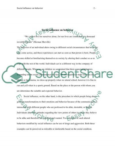 Social Influences on Behavior Paper essay example