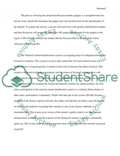 For and Against a National Animal Identification System in the U.S essay example