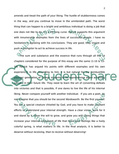 Sample Essays High School Write A  Word Essay Reaction To Major In Success By Patrick Combs Only  Chapters English Essay Example also Sample High School Essay Write A  Word Essay Reaction To Major In Success By Patrick Combs A Thesis For An Essay Should