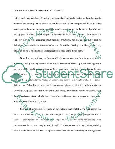 Nursing leadership essays