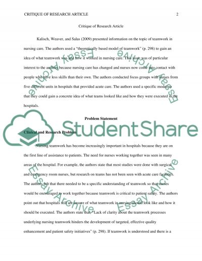 Research crique essay example
