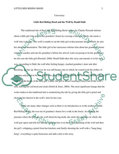 Little Red Riding Hood And The Wolf By Roald Dahl Essay
