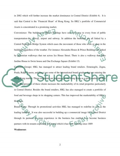 Hong Kong Land Holdings Limited essay example