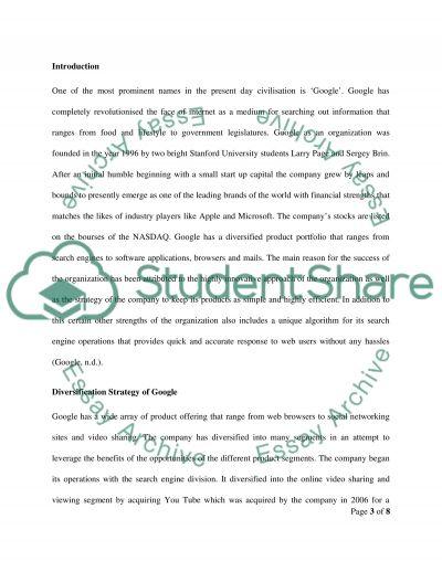 Company Analysis - Google essay example