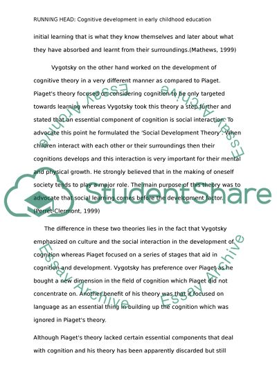 Cognitive Development In Early Childhood Education